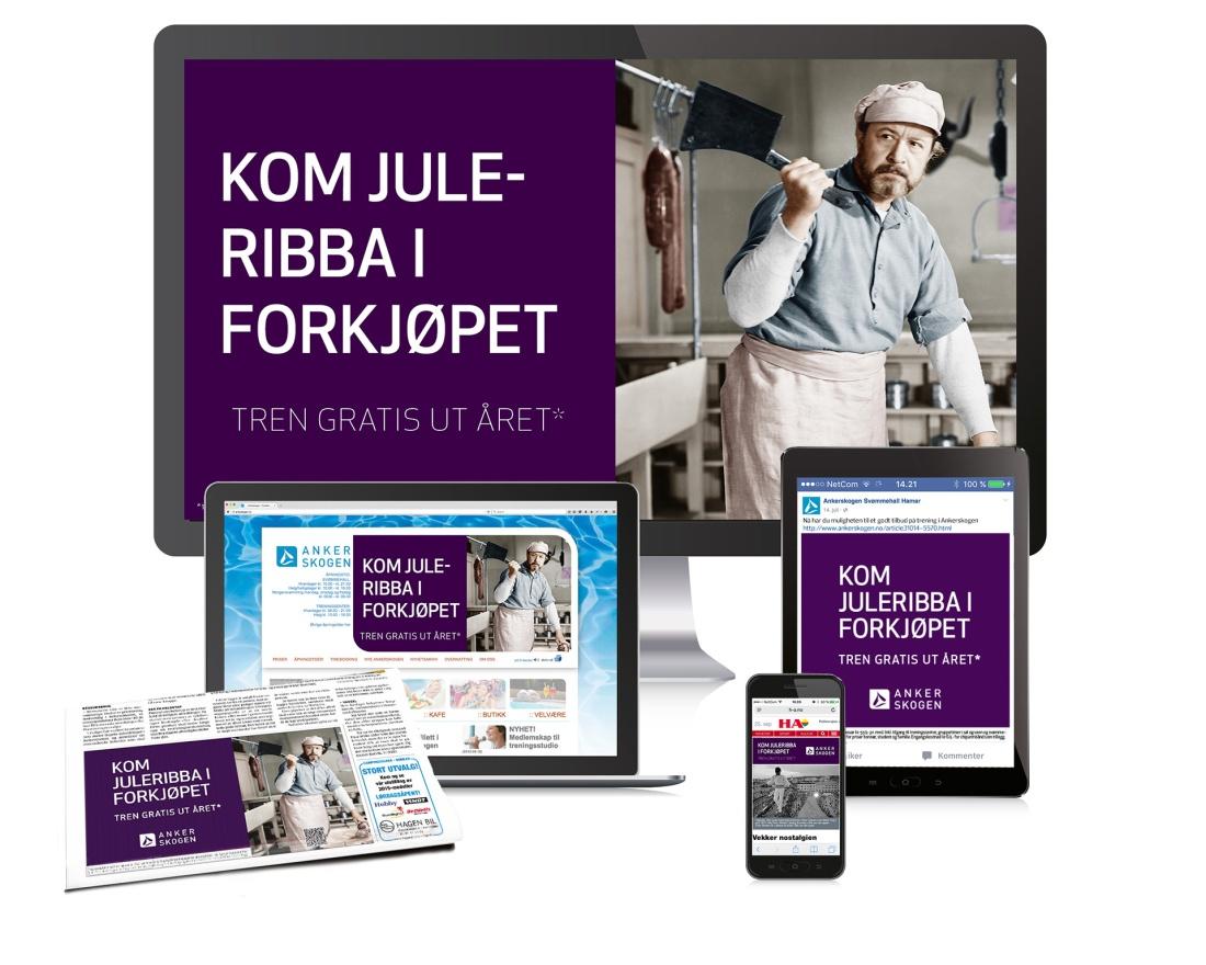 """Bilde av annonsekampanje for Ankerskogen svømmehall. """"Kom juleribba i forkjøpet"""""""