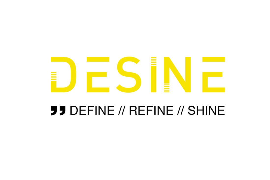 Logo for Desine, and the payoff: Define, refine, shine